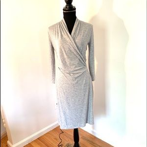Grey faux wrap dress size small
